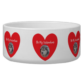Dog Bowl Husky Heart Red Be My Valentine