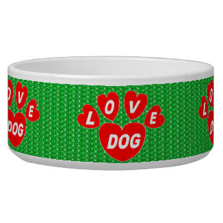 Dog Bowl Love Dog Hearts Red on Green