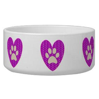 Dog Bowl Paw Heart Pink White Glitter..