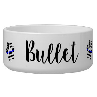 Dog bowl Personalized - Thin Blue Line -Police Dog