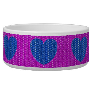 Dog Bowl Pink Blue Heart Glitter