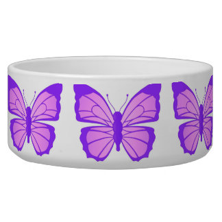 Dog Bowl Pink Purple Butterfly