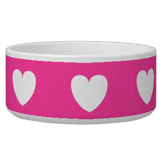 Dog Bowl Pink With White Heart