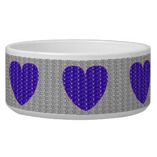 Dog Bowl Silver Purple Heart Glitter