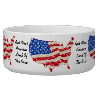 Dog Bowl USA Flag God Bless America