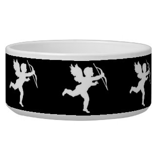 Dog Bowl White Cupid On Black