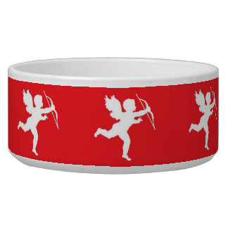 Dog Bowl White Cupid On Red