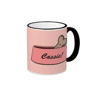 Dog Bowl with Bone Name Customizable Ringer Coffee Mug