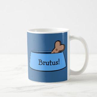 Dog Bowl with Bone Name Customizable Classic White Coffee Mug