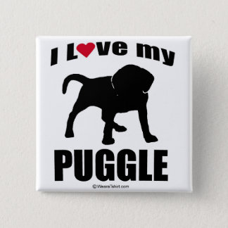 """DOG BREED"" - PUGGLE - ""I LOVE MY PUGGLE"" PINBACK BUTTON"