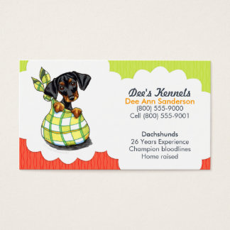 Dog Breeder Dachshund Puppy Tomato Lime Business Card