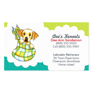 Dog Breeder Lab Puppy Teal Lime Double-Sided Standard Business Cards (Pack Of 100)