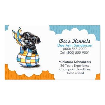 Dog Breeder Schnauzer Puppy Blue Citrus Business Card Template