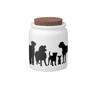 Dog breeds group black silhouette cookie candy jar
