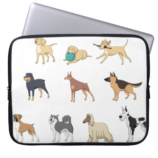 Dog Breeds Illustrative Pattern, Laptop Sleeve