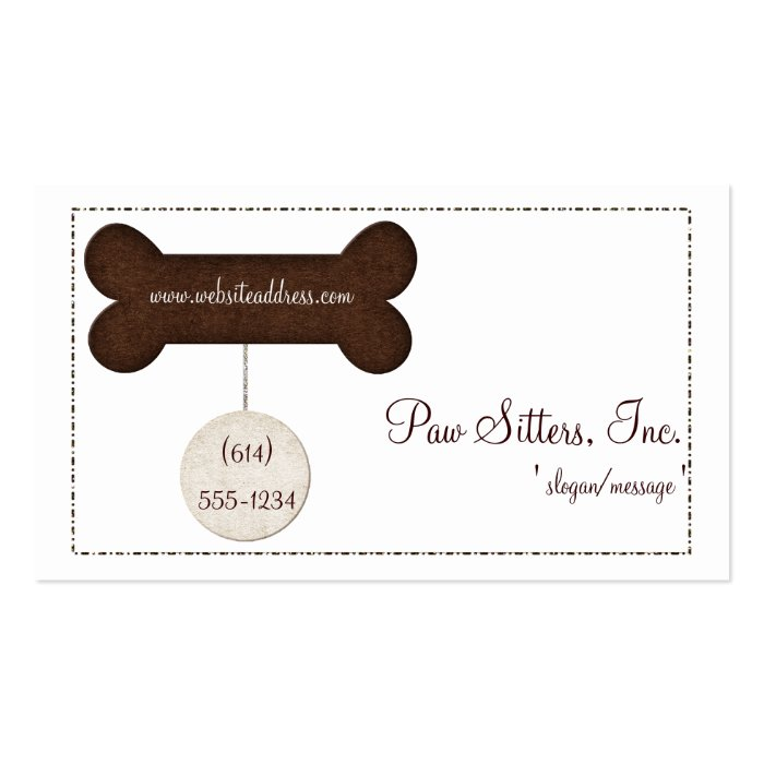 Dog business card brown dog bone tag zazzle for Dog tag business cards