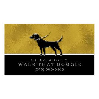 Dog Business Card - Gold, Black & White Custom