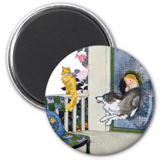 Dog Busts Screen Door to Get Cat 2 Inch Round Magnet