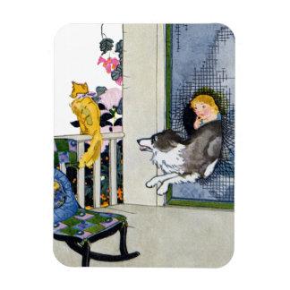 Dog Busts Screen Door to Get Cat Rectangular Photo Magnet