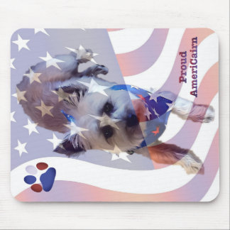 Dog Cairn Terrier America Flag Pride Mouse Pad