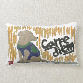 Dog, Carpe Diem, Latin Phrase Throw Pillow