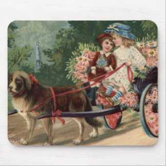 Dog Carriage Children Forget Me Not Daisy Mouse Pad