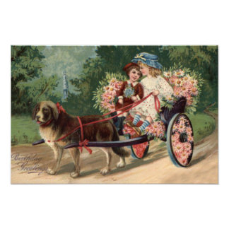 Dog Carriage Children Forget Me Not Daisy Photo Print