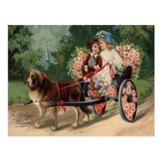 Dog Carriage Children Forget Me Not Daisy Postcard