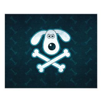 Dog Cartoon Blue Rain Bones Background Flyer