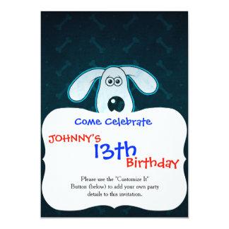 Dog Cartoon Blue Rain Bones Background 5x7 Paper Invitation Card