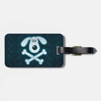 Dog Cartoon Blue Rain Bones Background Travel Bag Tag