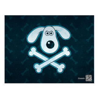 Dog Cartoon Blue Rain Bones Background Postcard