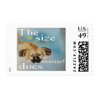 dog cartoon -funny about size stamps
