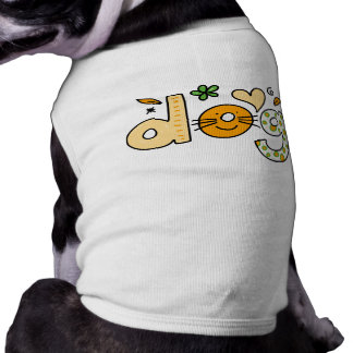 Dog Cartoon White Pet Ribbed Tank Top