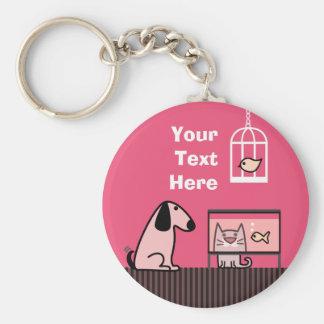 Dog Cat and Aquarium keyring Keychain