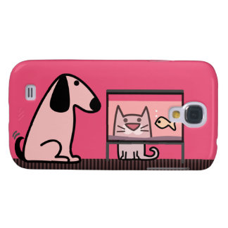 Dog Cat and Aquarium - red Samsung Galaxy S4 Cover