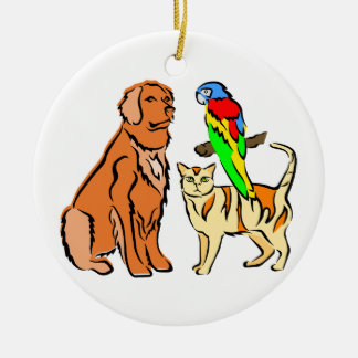 DOG CAT AND PARROT ROUND ORNAMENT