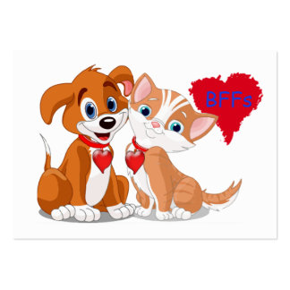 Dog Cat BFFs Valentine Cards to Hand Out for Kids Large Business Cards (Pack Of 100)