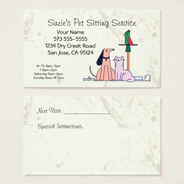 Dog Cat Bird Pet Sitting Service Business Card