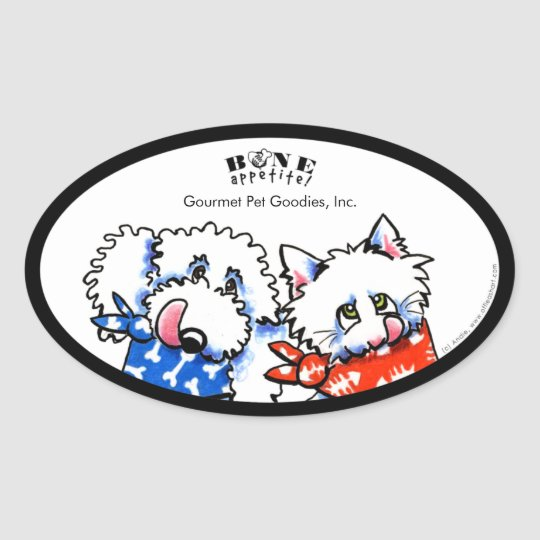 Dog Cat Bone Appetit! Pet Gourmet Personalized Oval Sticker