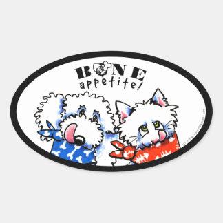 Dog Cat Bone Appetit! Pet Gourmet White Oval Stickers