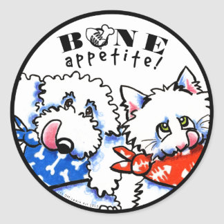 Dog Cat Bone Appetit! Pet Gourmet White Sticker