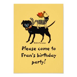 Dog, cat, chicken, worm art Invitation