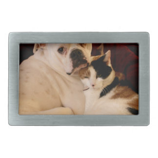 Dog Cat Cuddle Rectangular Belt Buckle