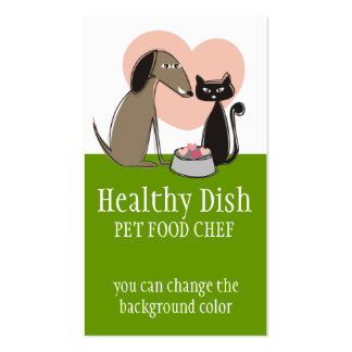 Dog cat food bowl hearts pet food chef biz cards business card