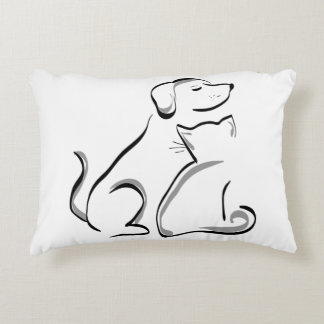 Dog Cat Friends Accent Pillow