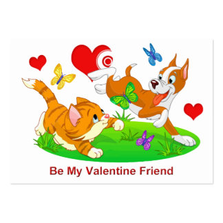 Dog & Cat Friends Cards to Hand Out for Kids Large Business Cards (Pack Of 100)
