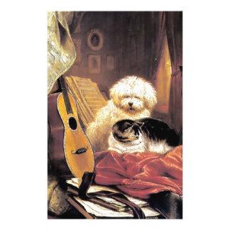 Dog Cat Guitar Music Painting Stationery Design