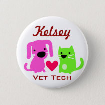 Dog Cat & Heart Vet Tech Button
