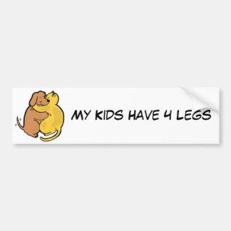 Dog & Cat Hug Bumper Sticker My Kids Have 4 Legs Car Bumper Sticker